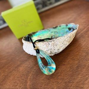 Venetian Glass Pendant Necklace, Turquoise & Gold